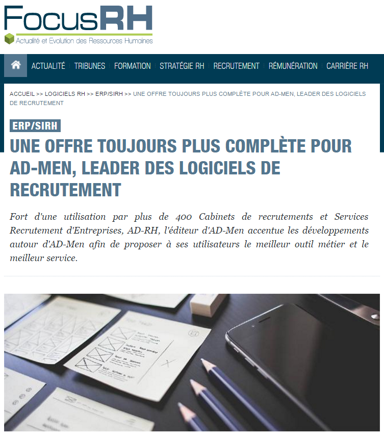 Capture d'article de FocusRH